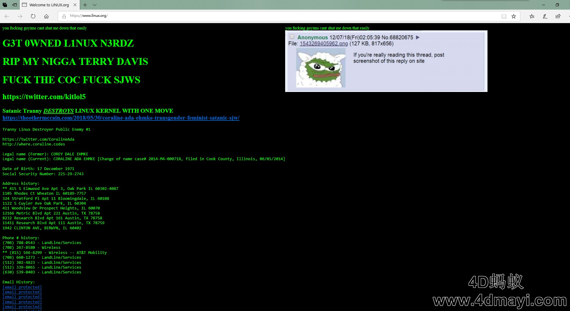 截图留念,著名开源社区linux.org疑似被黑!2018年12月7日